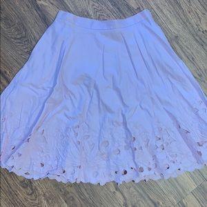 Lilac linen cutwork circle skirt